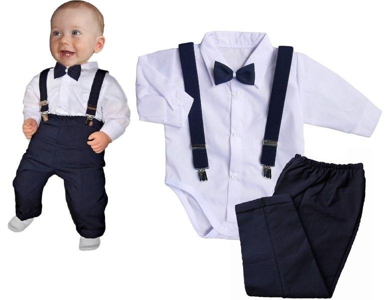 Ubranko komplet r.80 koszula body spodnie szelki muszka do chrztu zdjęcie 1