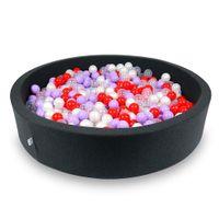 Suchy basen 130x30cm grafitowy z piłeczkami 600szt(przezroczyste, perłowe, wrzosowe, czerwone)
