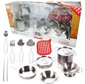 Garnki metalowe dla dzieci akcesoria kuchenne zestaw 14 elementów U30 zdjęcie 11