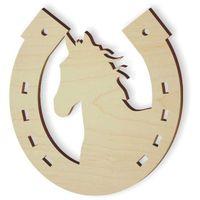 drewniana PODKOWA z koniem ozdoba dekoracja KOŃ