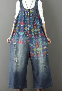 Spodnie Damskie - Ogrodniczki z Dziurami w kwiaty