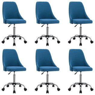 Lumarko Krzesła stołowe, 6 szt., niebieskie, tapicerowane tkaniną