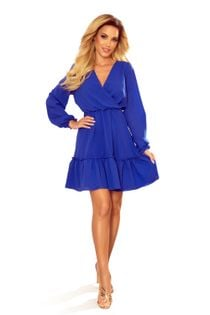 Szyfonowa sukienka z kopertowym dekoltem - Niebieski L