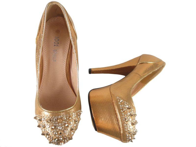 Buty na platformie z kolcami złote czółenka 39 zdjęcie 2