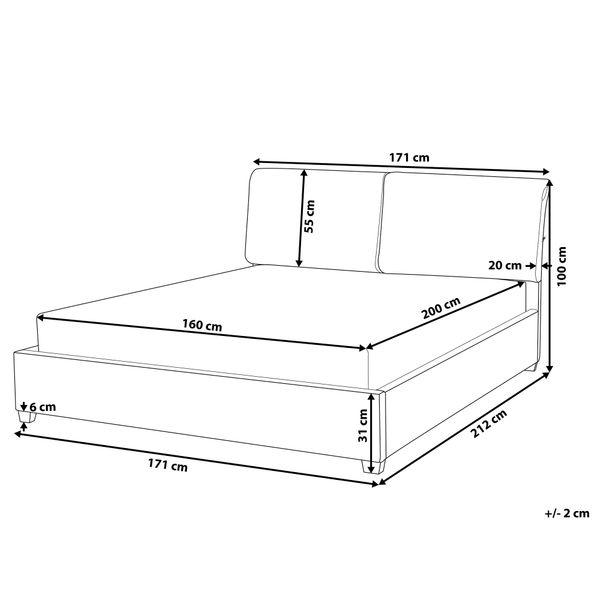 łóżko Rama łóżka Tapicerowana Drewniane Nóżki 160x200cm Ekskluzywne