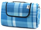 Koc piknikowy plażowy sportRAW 200x200cm SR001 niebieski kratka
