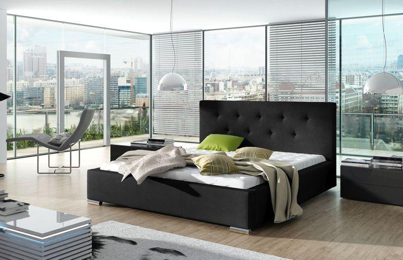 łóżko Lind 160x200 Tapicerowane Ze Stelażem Pojemnik Ekoskóra Ribes
