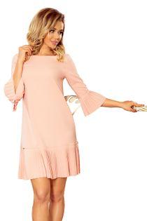 Taliowana sukienka z plisowanymi falbanami - Różowy S