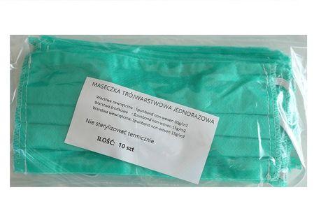 Maseczka higieniczna jednorazowa zielona 10 szt