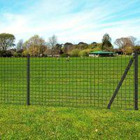 Euro ogrodzenie z kotwami do ziemi, 25 x 1,7 m, szare, stalowe