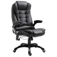 Krzesło biurowe z masażem, czarne, sztuczna skóra