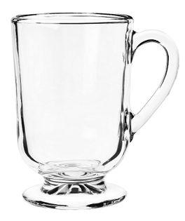 Kubek szklany szklanka na stopce nóżce z uchem do kawy herbaty ALLO 300 ml