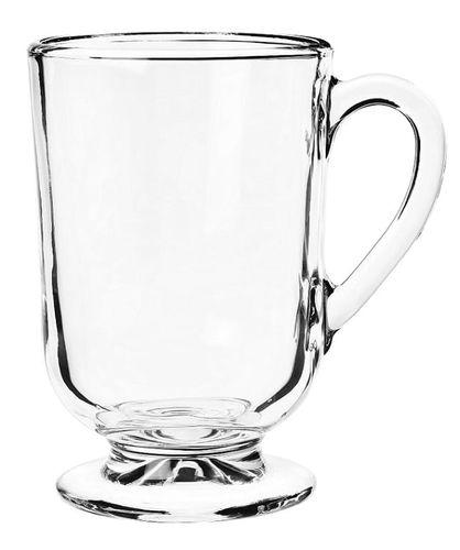 Kubek szklany szklanka na stopce nóżce z uchem do kawy herbaty ALLO 300 ml na Arena.pl