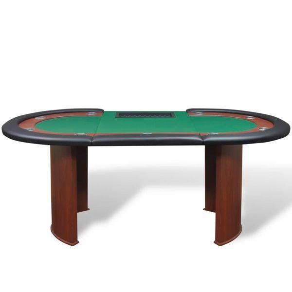 Stół do pokera dla 10 graczy z tacą na żetony, zielony zdjęcie 3