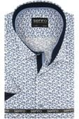 Koszula Męska Sefiro biała w granatowe kwiatki SLIM FIT na krótki rękaw K773 L 41 176/182