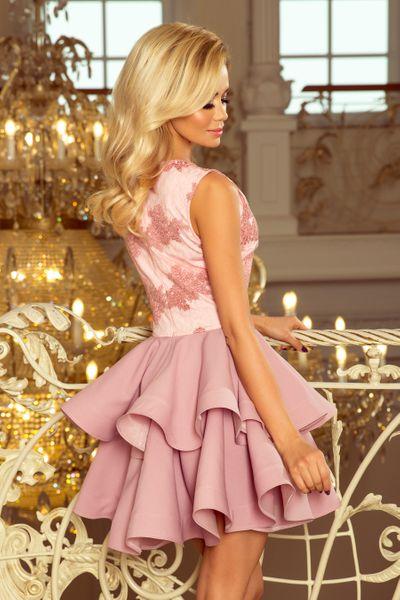 ea03fd3a74b68c 200-5 CHARLOTTE - ekskluzywna sukienka z koronkowym dekoltem - PUDROWY RÓŻ  Rozmiar - XL