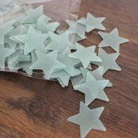 Gwiazdki fluorescencyjne 100 elementów - jednokolorowe błękit z brokat