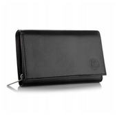 BETLEWSKI damski portfel skórzany czarny RFID