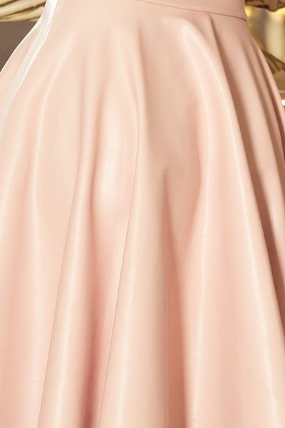852966b84c Gorsetowa sukienka z ekoskóry SARA - pastelowy róż Rozmiar - M zdjęcie 6