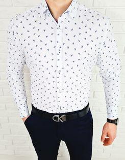 Biala koszula w granatowe liscie slim fit VP1639 - XXL