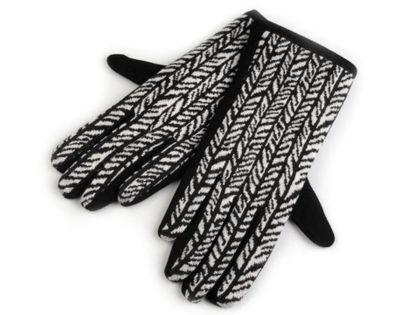 Rękawiczki damskie z dzianiny jodełka roz. L