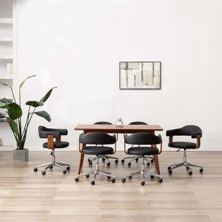 Krzesła obrotowe, 6 szt., czarne, gięte drewno i sztuczna skóra