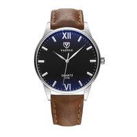 Zegarek męski yazole srebrny, czarna tarcza brązowy pasek ZM92WZ1