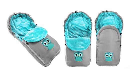 Śpiworek do wózka DZIECIĘCY SÓWKA Grey   Blue