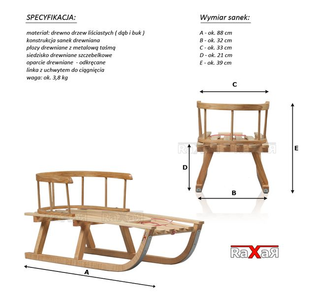 SANKI drewniane dla dzieci z materacykiem i popychaczem zdjęcie 3