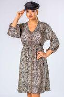 Rozkloszowana sukienka z gumką w pasie i bufiastymi rękawami - Multikolor 38