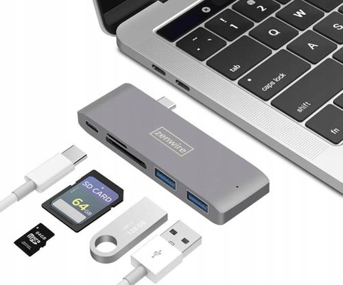HUB 5w1 USB-C 3.1 ADAPTER do MACBOOK PRO/AIR 2x USB 3.0.SD/micro SD/Power Delivery na Arena.pl