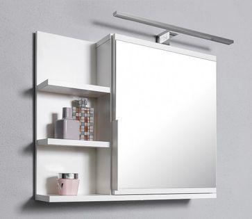 Biała szafka z lustrem, z LED, szafka łazienkowa, lewa