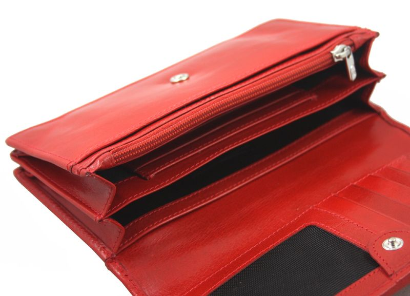 Portfel damski Samsonite RFID, skórzany w kolorze czerwonym zdjęcie 8