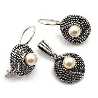 Komplet srebrny oksydowany z perełkami