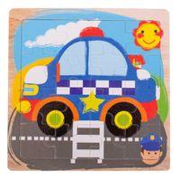 Puzzle Drewniane Układanka Policja 12El. 15X15 Cm