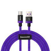 Baseus Purple Gold Red kabel przewód w nylonowym oplocie USB / USB-C SuperCharge 40W Quick Charge 3.0 QC 3.0 2M fioletowy (CATZH-B05)