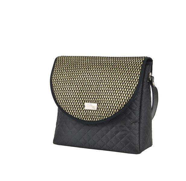 4fea02d28ad17 Farbotka damska torebka listonoszka Puro pikowana czarno-złota zdjęcie 2