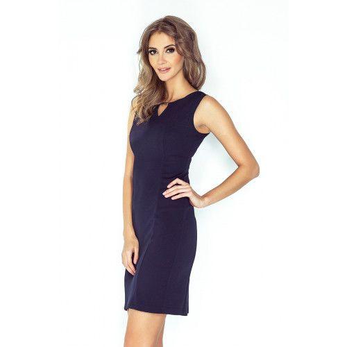 Elegancka sukienka z klamerką - GRANATOWA L zdjęcie 3