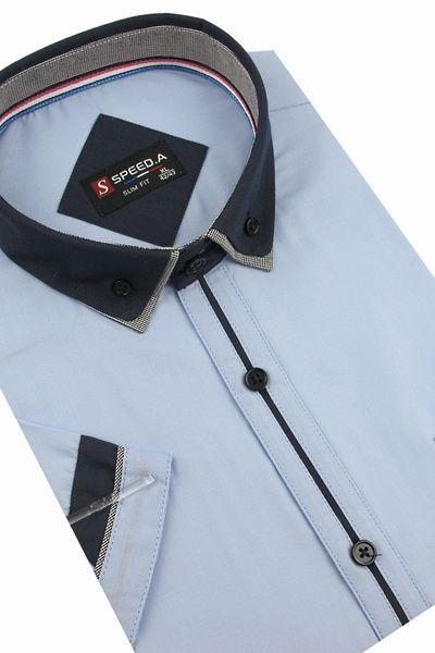 Koszula Męska Speed.A gładka błękitna SLIM FIT z podwójnym kołnierzykiem na krótki rękaw  K637 L 41 176/182 zdjęcie 2