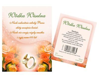 Etykiety naklejki na wódkę butelkę weselną 25 kpl