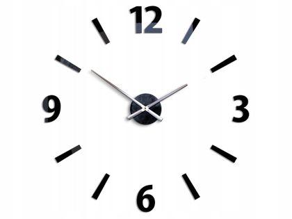 Zegar Ścienny CARTER - Czarny - Duże Cyfry Indeksy
