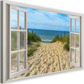 Obraz na płótnie - Canvas, okno - zejście na plażę 90x60 zdjęcie 1