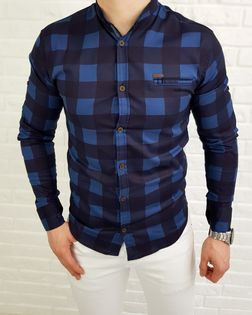 Niebieska męska koszula w kratę slim fit - S