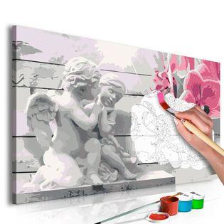 Obraz do samodzielnego malowania - Aniołki (różowa orchidea)
