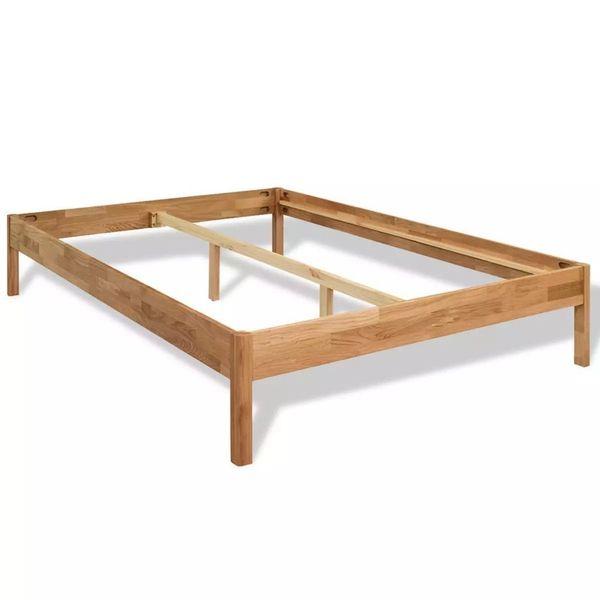 łóżko Podwójne Rama łóżka Z Materacem Drewniane 140x200