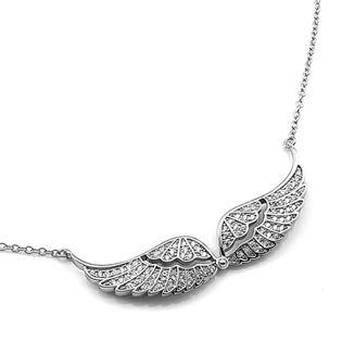 Naszyjnik srebrny rodowany skrzydła anioła