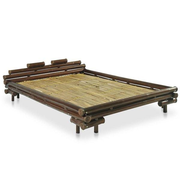 łóżko Bambusowe Do Sypialni Brązowe 140x200cm