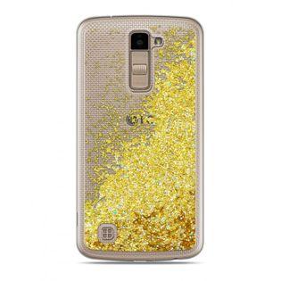 Etui Nakładka Płynny Brokat  LG K10 Złoty