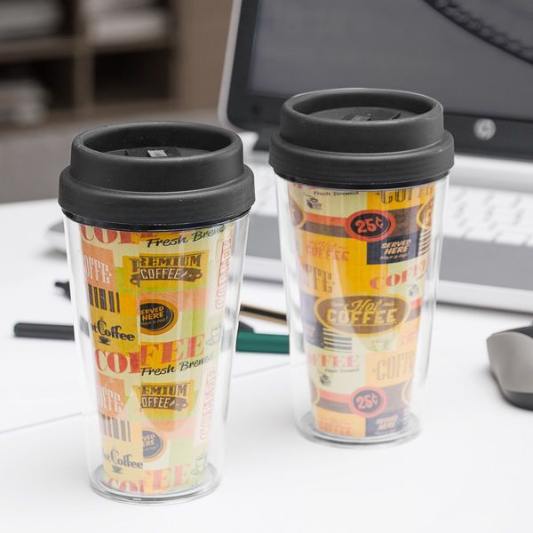 Kubek do kawy z pokrywką i podwójną ścianką zdjęcie 1