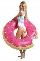 Materac Dmuchany Plażowy Pączek Donut Pink Koło 120 cm